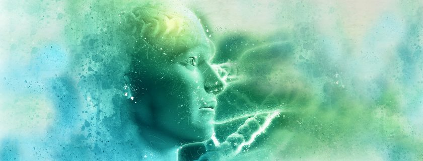3D grunge DNA medical background with male figure with brain and virus cells