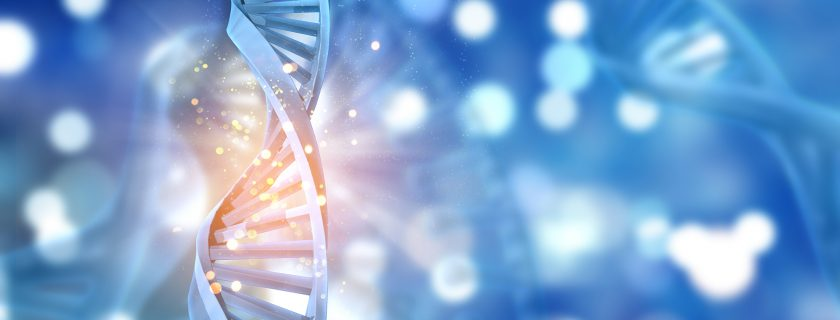 3D DNA strands on an abstract background