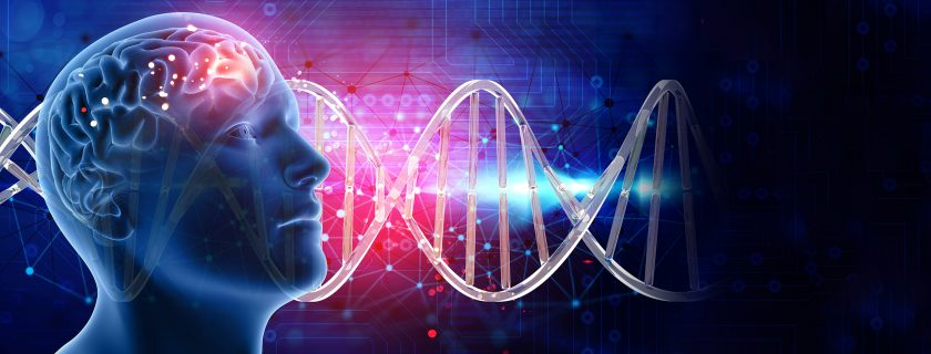 3D medical background with male head and brain on DNA strands